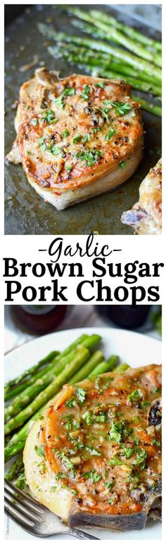 This Garlic Brown Sugar Pork Chops recipe is such a delicious blend of flavors. Super quick and easy sure to be a new family favorite! These Garlic Brown Sugar Pork Chops are such a delicious blend of flavors, and is sure to be a new family favorite! Pork Chop Recipes, Meat Recipes, Cooking Recipes, Pork Meals, Spinach Recipes, Healthy Recipes, Candy Recipes, Healthy Meals, Cooking Tips