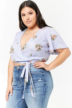 Product Name:Plus Size Floral Wrap Top, Category:plus_size-best-sellers, Price:17.9