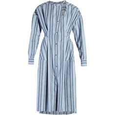 Isabel Marant Selby button-through striped dress ($710) ❤ liked on Polyvore featuring dresses, isabel marant dress, striped dress, stripe dresses, blue button dress and blue dress