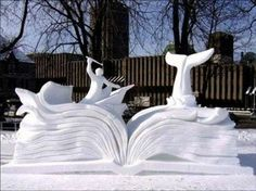 Moby Dick snow sculpture ~ by Horacio Castrejón Galván (captain), Luis Alberto Campomanes Martinez and Hermann Seedorf de Colombres of Mexico. ~ International Snow Sculpture Event at the 2007 annual Winter Carnival, Québec City, Canada. Snow Sculptures, Book Sculpture, Snoopy House, Graffiti, Ice Art, Snow Art, Snow And Ice, Art Base, Winter Fun