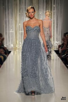 Strapless silver gray evening gown - Tony Ward