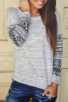 Ethnic Print Spliced Casual Round Neck Long Sleeve T-Shirt For Women