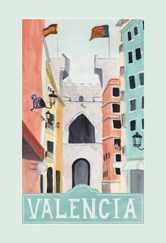 Add a glimpse of colorful Valencia to your walls with this vintage-inspired travel poster! Featuring hand leering and a watercolor illustration Spain Tourism, Spain Travel, Travel Europe, Travel Destinations, Illustrations Vintage, Illustrations Posters, Travel Illustration, Watercolor Illustration, Pub Vintage