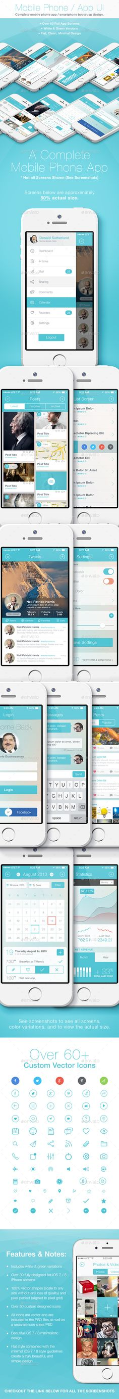 Flat Phone / Mobile App Bootstrap UI - User Interfaces Web Elements