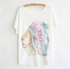 Letní dámské volné tričko lev – dámská trička Na tento produkt se vztahuje  nejen zajímavá sleva 64c94e745a