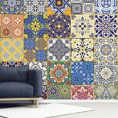 Adorn your wall with this made to measure Turkish Tiles wall mural. FREE UK delivery within 2 to 4 working days. Turkish Tiles, Moroccan Tiles, Portuguese Tiles, Moroccan Wallpaper, Tile Wallpaper, Hacienda Decor, Fabric Wall Decor, Wall Painting Living Room, Pottery Clay