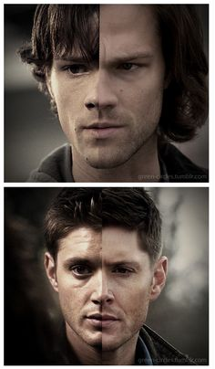 "Sam & Dean. Seasons 1 & 8. How is it that Dean looks younger now? Also, Sam went from adorable to looking like Lucifer is still screaming ""Good Morning Vietnam!!"" in his head nonstop"