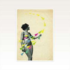 Geometric Portrait Art, Female Figure - She's a Whirlwind A4 Print