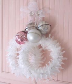 SHABBY WHITE CHIC FEATHER FRENCH DOOR CHRISTMAS WREATH