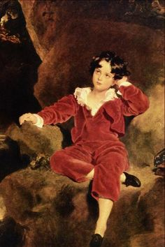 Master Lampton by Thomas Lawrence (1769 – 1830, English)  Master Charles William Lambton's portrait was  painted for his father Lord Durham for 600 guineas and known as The Red Boy. Unfortunately, Charles died young.  His painting is now is LA.