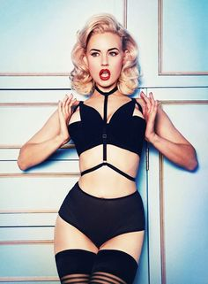 Nothing says pin-up like a sexy harness bra and some high-waist panties!