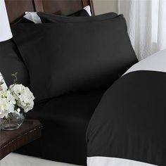 Egyptian Bedding 600 Thread-Count, Queen Pillow Cases,Black solid, Set of 2 ** You can find out more details at the link of the image. #SheetsPillowcases
