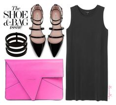 """Epic Pink Clutch"" by nonniekiss ❤ liked on Polyvore featuring Monki, Zara and Repossi"