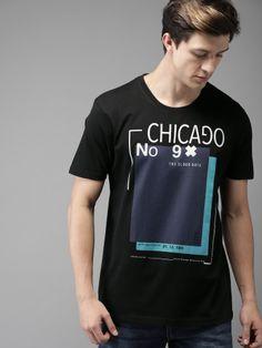 Moda Rapido Men Black Printed Round Neck T-shirt New T Shirt Design, Tee Shirt Designs, Casual T Shirts, Cool Shirts, Men Casual, Mens Half Sleeve, High Collar Shirts, Men Design, Polo T Shirts