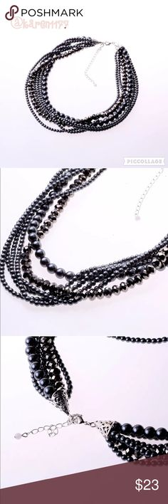 Listing✨Beautiful Blck/Grey Faux Pearl Necklace Classic & Elegant faux Pearl Necklace! ✨Bundle and Save✨ Jewelry Necklaces