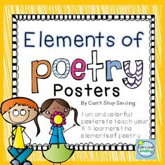 Poetry:+Poetry+PostersThis+packet+contains+fun,+kid-friendly+posters+to+help+teach+your+students+the+elements+of+poetry.++Hang+them+in+your+classroom+or+use+them+to+jumpstart+your+mini+lessons.+The+elements+targeted+are:alliterationonomatopoeiaimageryrepetitionrhythmrhymemetaphorsimilepersonificationEnjoy!