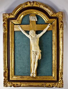 Antique French Hand Carved Christ, Crucifix - Dieppe, in Dore Wood Frame, c. 1750-1800