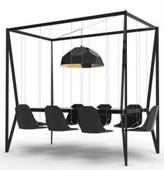 black steel frame with hanging chairs