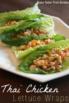 Thai Chicken Lettuce Wraps With Canola Oil, Chicken Breasts, Garlic, Sweet Onion, Salt, Pepper, Carrots, Shredded Cabbage, Green Onions, Cilantro, Sweet Chili Sauce, Chunky Peanut Butter, Ginger, Soy Sauce, Crushed Red Pepper, Romaine Lettuce Leaves