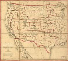 Map of Western U.S. Railroads c.1859 Pacific by InterestingPhotos, $4.82