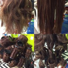 1) horrible frizzy wig 2) after straightening with a handheld travel steamer. 3) put in some heated rollers to renew the curl & dry in an airing cupboard for extra setting. 4) lovely curls to style as needed. #cosplay wig #cosplaywighelp #cosplay #cosplaytutorial #cosplaytutorialwigs