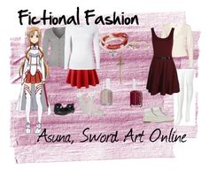 """""""Asuna, Sword Art Online"""" by fictional-fashion ❤ liked on Polyvore featuring Repeat, White Stuff, Chantal Thomass, Kenneth Cole Reaction, Banjo & Matilda, Dotti, Boohoo, Timberland, Essie and Vivien Frank Designs"""