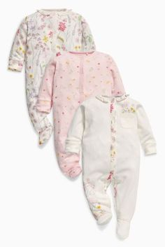 Mamas And Papas Baby Girl Sleepsuit Bundle Pink/green/grey 0-3months