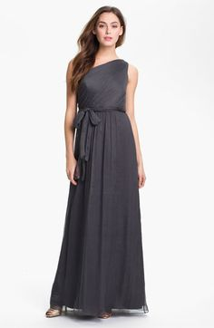 Another gorgeous one-shoulder. Currently on sale, but only in a size 10. Amsale One Shoulder Chiffon Gown | Nordstrom