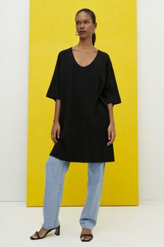 FREE SHIPPING - The Oversized T-Shirt Dress by Kowtow An oversized dress with a wide scoop neckline, made from mid-weight organic cotton jersey. The dress features wide raglan sleeves that finish at the elbow and side seam pockets. Oversized T Shirt Dress, Rib Knit, Organic Cotton, Sleeves, How To Wear, Neckline, Pockets, Building, Dresses