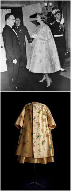 Bal de printemps coat, from Dior's spring / summer 1956 Haute Couture collection, worn by Princess Grace of Monaco. Photos via gracepatri Tumblr, copyright (Top): Bettmann / Corbis; (Bottom): Dior.