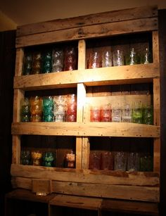 Storage | Glee: Pallet Shelving -- I love this idea, possible outdoor camp shelves, too, or would be great in a rustic kitchen Affordable Kitchen Cabinets, Wooden Pallets, Wood Pallets, Pallet Wood