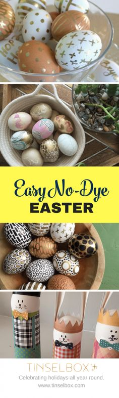 Easter Egg Design Ideas –Easy, no dye Easter Eggs which are beautiful every time. No fail!