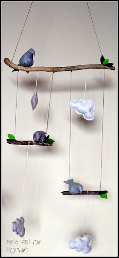 Bird and cloud mobile.