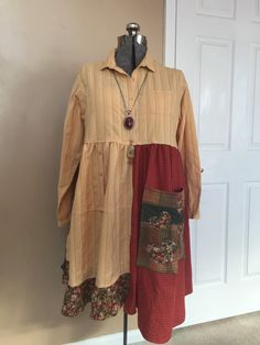 XL Romantic Upcycled Tunic Dress / Boho Gypsy Patchwork Dress / Warm Colorful Dress / Butter Yellow Army Green Rust / Big Pocket