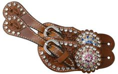 Tooled Leather Spur Straps w// Cross and Squre and White Cross