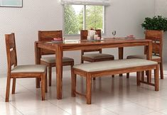 Muebles Kietel 6 Seater Dining Set With Bench (Teak Finish) How To Choose Awnings For Your Home Or B Dinning Table With Bench, 2 Seater Dining Table, Wooden Dining Table Designs, Dining Table With Storage, Dinning Table Design, Simple Dining Table, Dining Sofa, Dinning Room Tables, Wooden Dining Tables