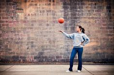 basketball senior pic - you could do this in front of bleachers or barn too