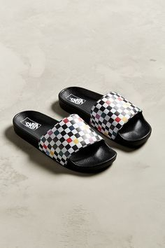Shop Vans Sport Slide Party Checkerboard Sandal at Urban Outfitters today. Slide Sandals, Strap Sandals, Snoopy Shoes, Vans Slides, Pool Slides, Hippie Shoes, Cute Vans, Vans Shop, Sports Party