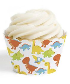 This Dinosaur Cupcake Wrapper - Set of 12 is perfect! #zulilyfinds