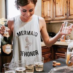 #Mermaids rock! How cute is this #shirt for the #bachelorette? Spotted @aisleperfect #mermaidgang #bridalparty #bridesmaids #maidofhonor #fashion #spring #summer #glitter #beauty #stylish #fun #mimosas #happy #ideas #details #inspiration #weddingplanning #weddingplanner #stylist #nyc #freelance #social #lifestyle by weddingstylechic