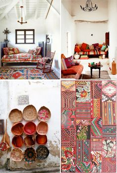 BohemiaDesign. I Can't get enough of clashing patterns. I'm admittedly feeling very bored of minimalism and even the beloved mid-century modern aesthetic. I mean, yes I love a good 'clean line' as much as the next gal, but let's bid adieu to this chilly vibe and welcome the warmth and vibrancy of florals, stripes, geometrics and fearless clashing! What say you?