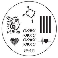 CYO 1 Nail Stamping Plate BM411 - XOXO + Shattered Heart