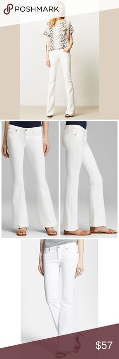 """Like new! Paige Bootcut Jeans Like new! Paige Premium Denim Laurel Canyon Bootcut Jeans In Optic White... Note: These jeans are constructed of stretch denim. 98% cotton, 2% spandex. Made in the U.S.A. Machine wash cold, tumble dry low. 16.5"""" across at actual waistband. 32.25"""" inseam. 7.75"""" front rise. 13"""" back rise. 17"""" at the upper thigh. 15"""" at the knee. 19"""" at the leg opening. Pristine pre-loved condition. Appears unworn. Size 28. Retail $199 Paige Jeans Jeans Boot Cut"""