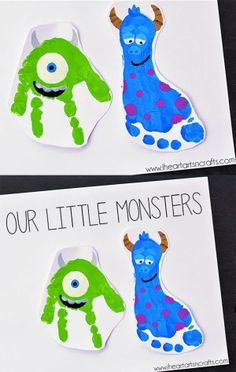 "Handprint and Footprint Monsters Inc. Father's Day Card ""Happy Father's Day From Your Little Monsters!"" day gifts ideas from kids boys Monsters Inc Inspired Footprint Art - I Heart Arts n Crafts Daycare Crafts, Baby Crafts, Toddler Crafts, Preschool Crafts, Ocean Crafts, Toddler Art, Infant Crafts, Rainbow Crafts, Craft Activities"