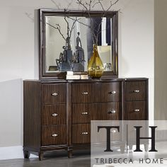 Tribecca Home Cumbria Retro Modern Curved Front 9-drawer Dresser and Mirror | Overstock.com Shopping - Great Deals on Tribecca Home Dressers...