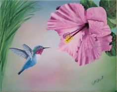 Pink Hummingbird | Custom Made Bird Painting: Blue Hummingbird Flying Near Pink Hibiscus