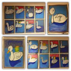 """""""Joutsenet"""". 1.-2.lk. Ohje Pinterestistä. http://pinterest.com/pin/A7ySTwAQQCEGRLJQtKcAAAA/ (Alkuopettajat FB -sivustosta / Eeva Hiltunen)"""