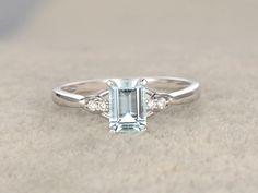 5x7mm Emerald Cut Aquamarine and Diamond Engagement Ring 14K White Gold Simple Design