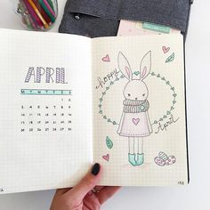 'Hoppy' April. Absolutely loved drawing this cute bunny for an Easter theme cover page, in my Bullet journal, for April. It's the first time I've included an actual calendar for the month too!