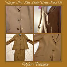 This is a beautiful two piece ladies pants set. Made by the Kasper brand, size 14 (US size). The jacket is made of 100% polyester, with a polyester lining. It has three clasp buttons for closure and a folded collar. The pants are also made of 100% polyester with a polyester lining. In excellent condition!! No snags, no pulls, no holes, no missing buttons, professionally dry cleaned and ready to ship! 🌸 | Shop this product here: spree.to/av49 | Shop all of our products at…